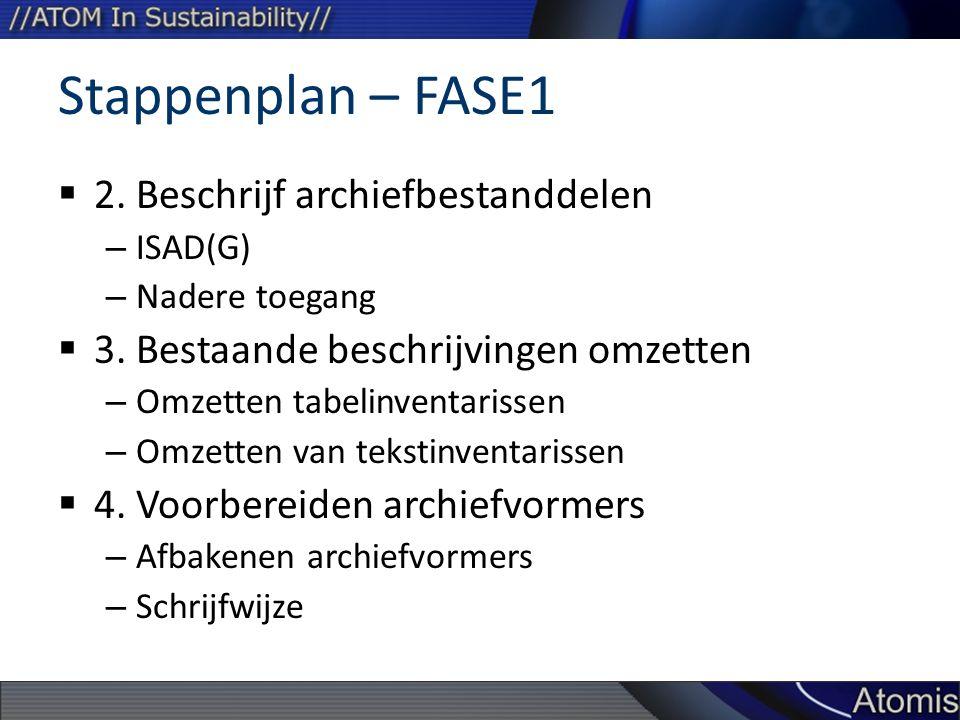 Stappenplan – FASE1 2. Beschrijf archiefbestanddelen
