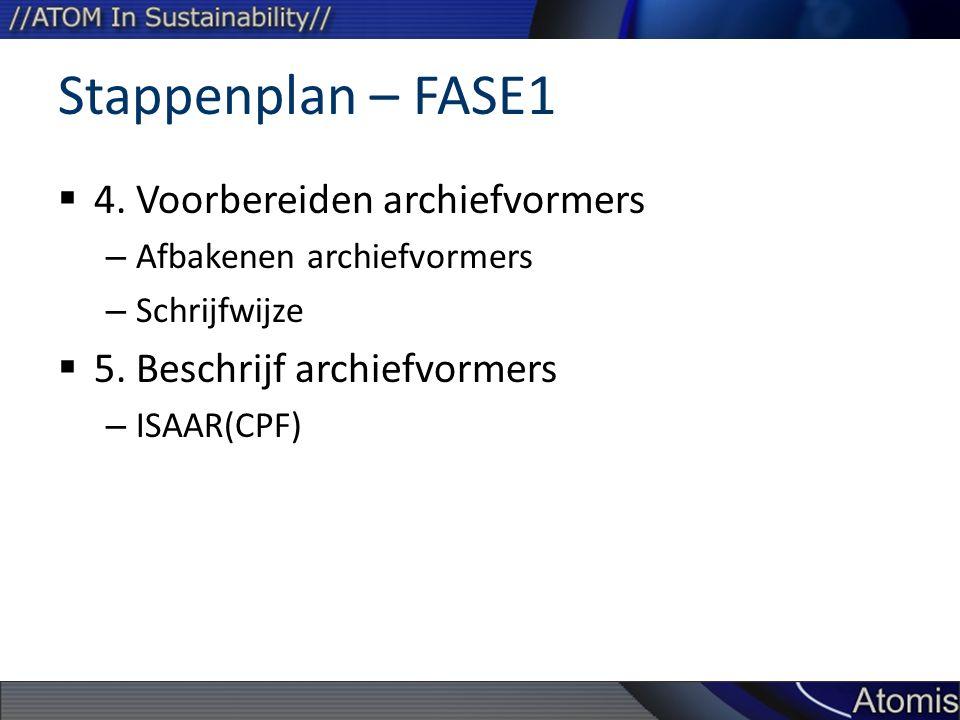 Stappenplan – FASE1 4. Voorbereiden archiefvormers
