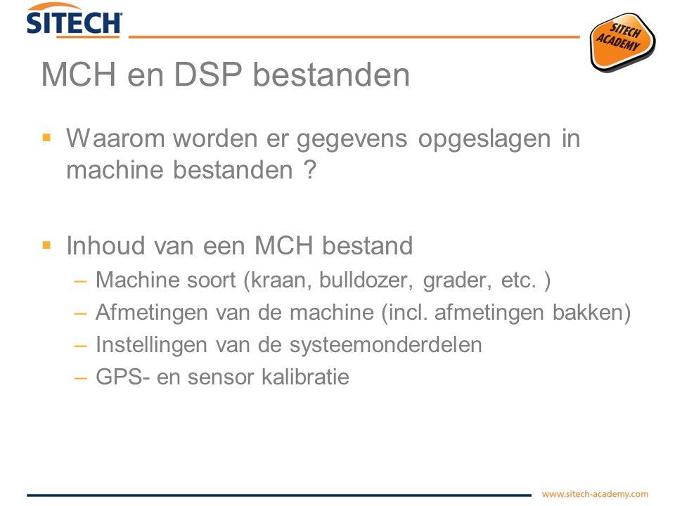 MCH en DSP bestanden Waarom worden er gegevens opgeslagen in machine bestanden Inhoud van een MCH bestand.