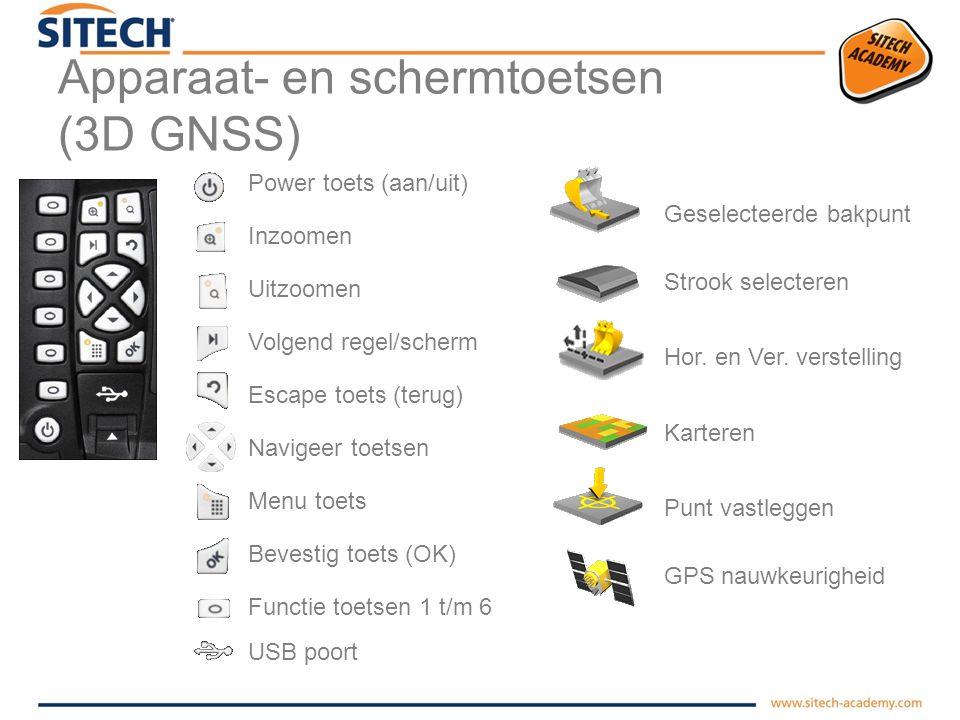 Apparaat- en schermtoetsen (3D GNSS)