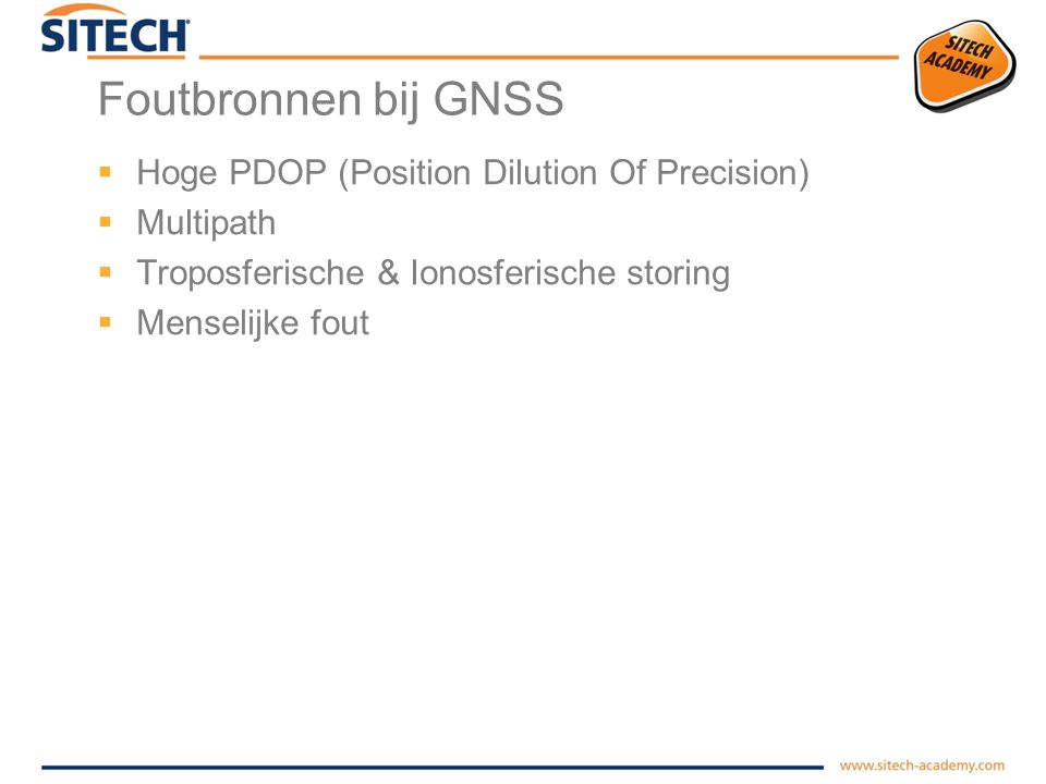 Foutbronnen bij GNSS Hoge PDOP (Position Dilution Of Precision)