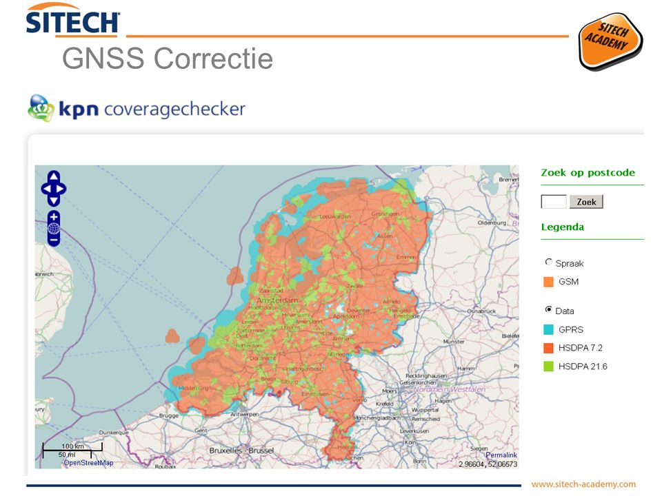 GNSS Correctie vast Basisstation via Ntrip (Networked Transport of RTCM via InternetProtocol) Correctie te ontvangen via Internet,