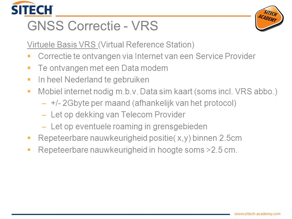 GNSS Correctie - VRS Virtuele Basis VRS (Virtual Reference Station)
