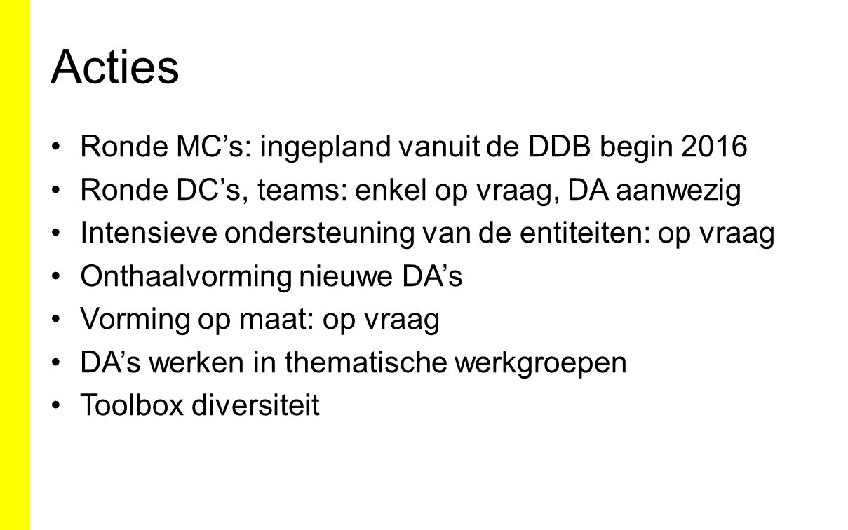 Acties Ronde MC's: ingepland vanuit de DDB begin 2016