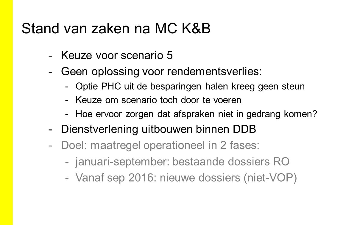 Stand van zaken na MC K&B