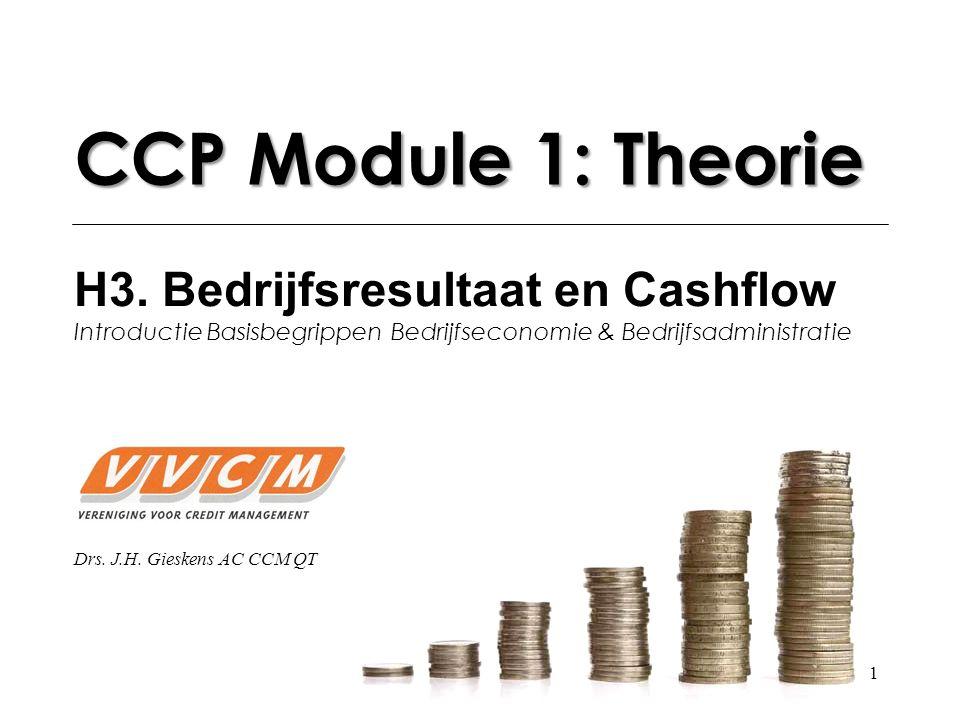 CCP Module 1: Theorie H3. Bedrijfsresultaat en Cashflow Introductie Basisbegrippen Bedrijfseconomie & Bedrijfsadministratie.