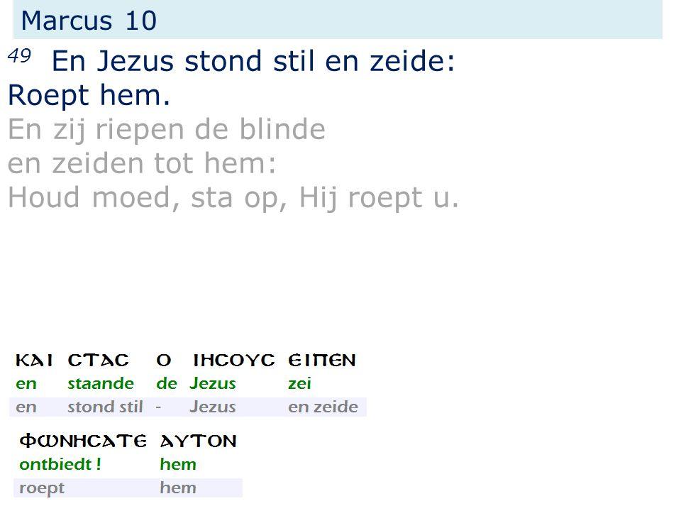 49 En Jezus stond stil en zeide: Roept hem. En zij riepen de blinde