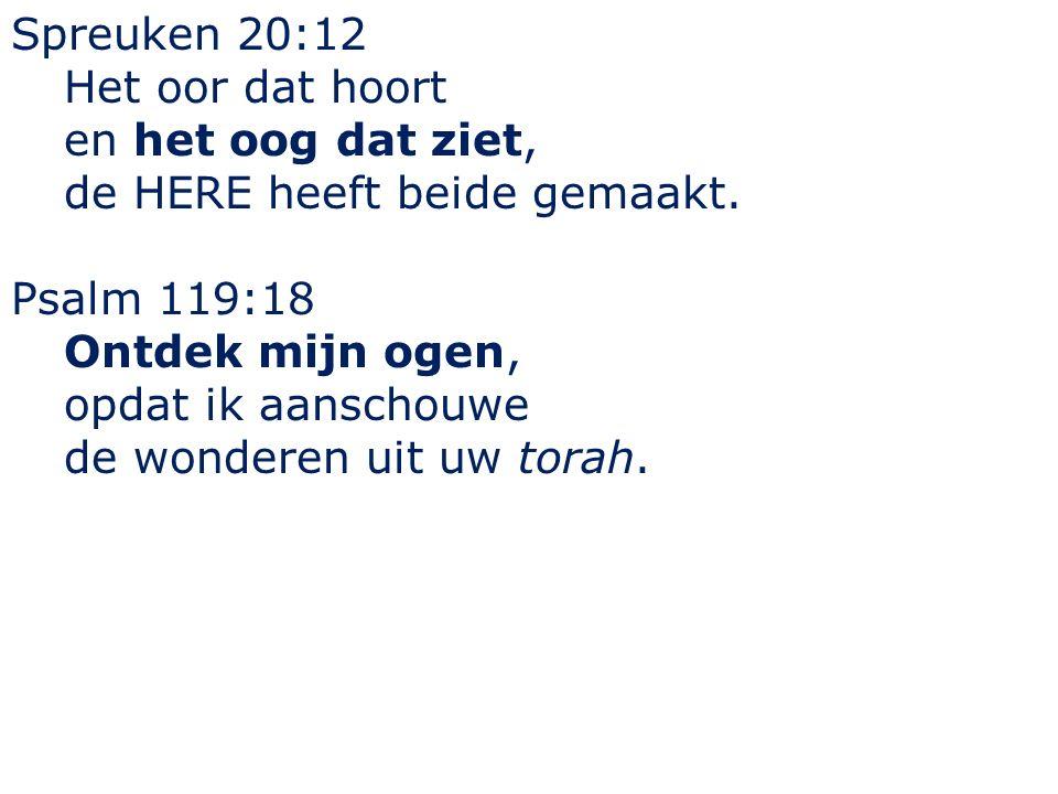 Spreuken 20:12 Het oor dat hoort. en het oog dat ziet, de HERE heeft beide gemaakt. Psalm 119:18.