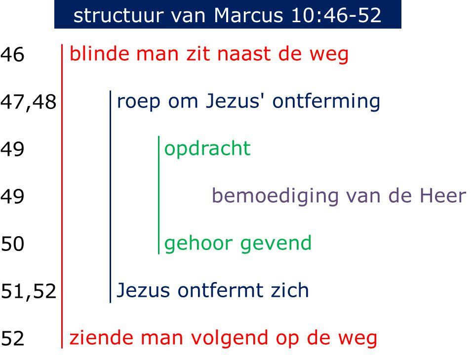 structuur van Marcus 10:46-52