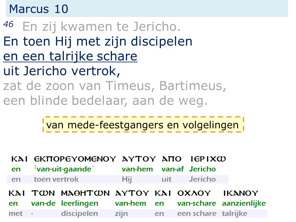 46 En zij kwamen te Jericho. En toen Hij met zijn discipelen