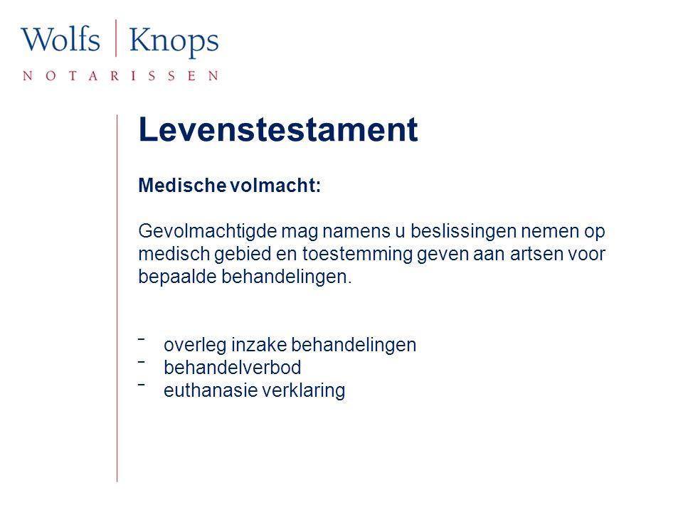 Levenstestament Medische volmacht: