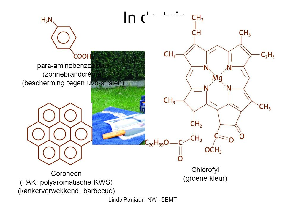 In de tuin para-aminobenzoëzuur (zonnebrandcrème)
