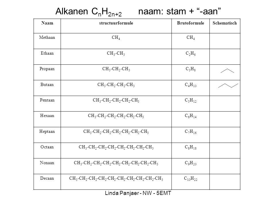 Alkanen CnH2n+2 naam: stam + -aan