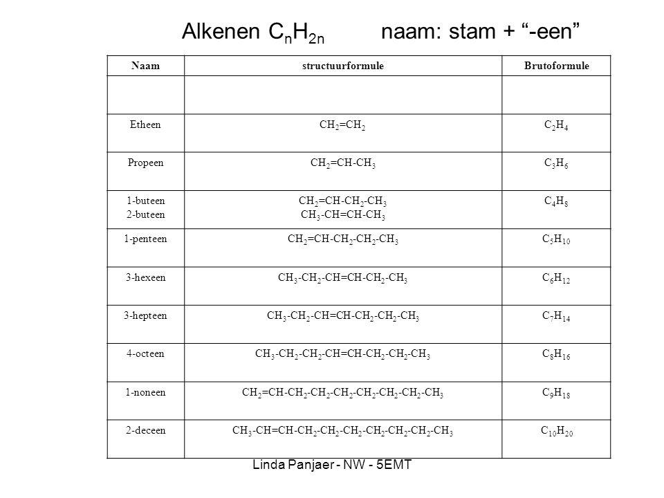 Alkenen CnH2n naam: stam + -een