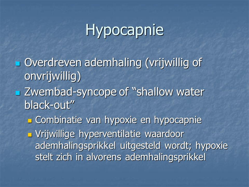 Hypocapnie Overdreven ademhaling (vrijwillig of onvrijwillig)