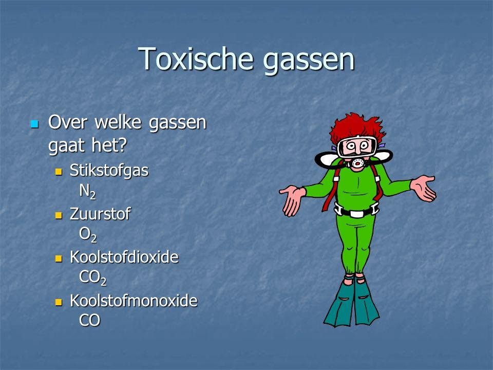 Toxische gassen Over welke gassen gaat het Stikstofgas N2 Zuurstof O2