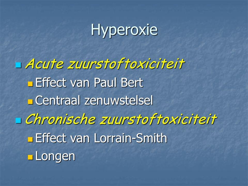 Hyperoxie Acute zuurstoftoxiciteit Chronische zuurstoftoxiciteit
