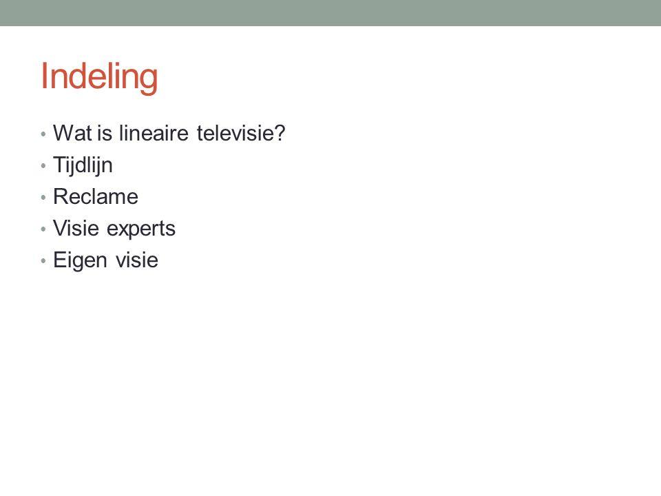Indeling Wat is lineaire televisie Tijdlijn Reclame Visie experts