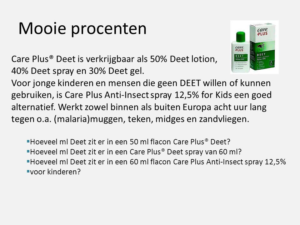 Mooie procenten Care Plus® Deet is verkrijgbaar als 50% Deet lotion,