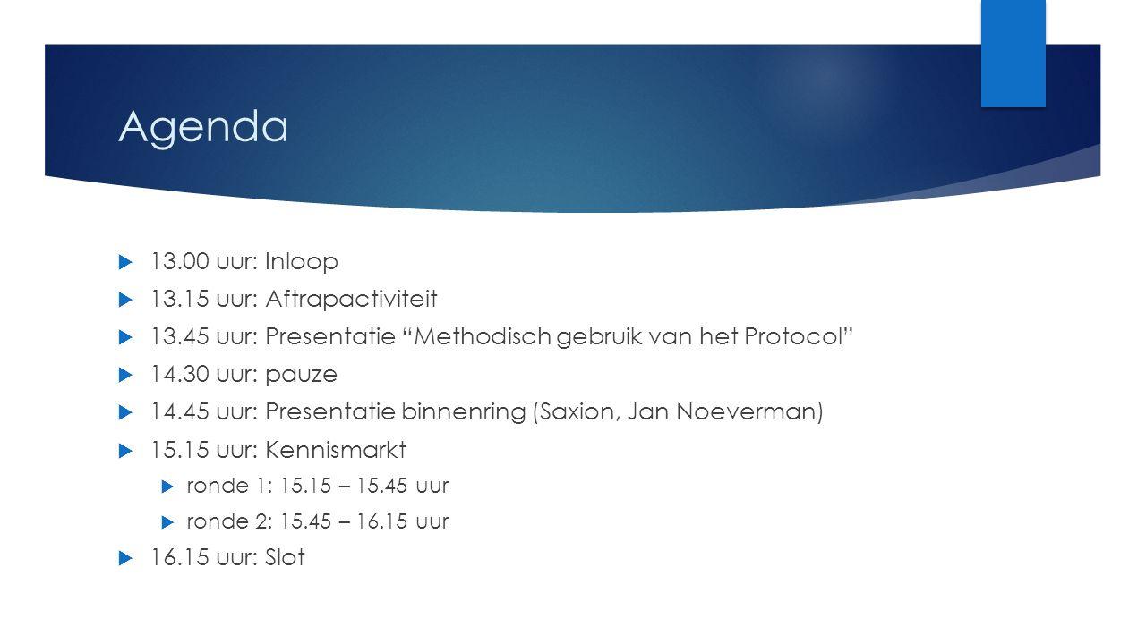 Agenda 13.00 uur: Inloop 13.15 uur: Aftrapactiviteit