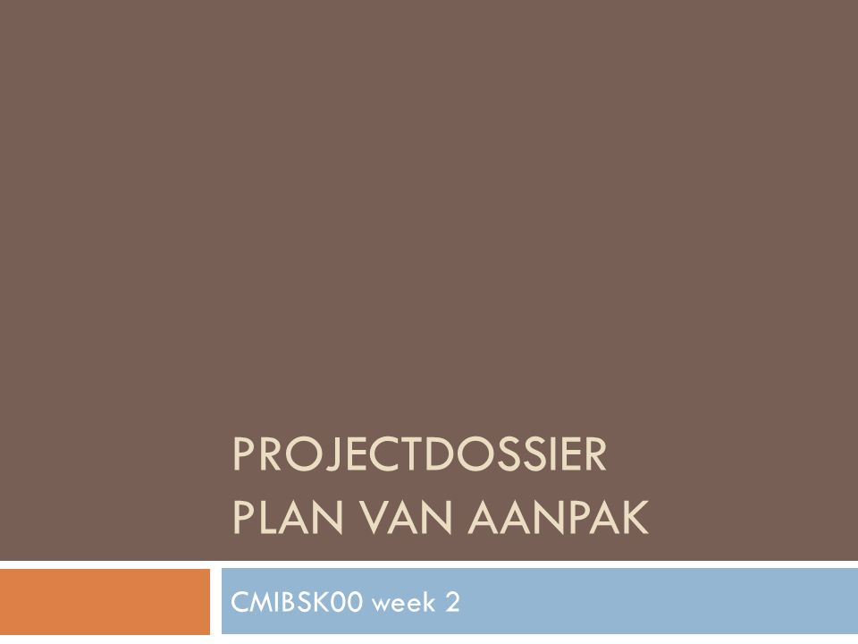 Projectdossier Plan van aanpak