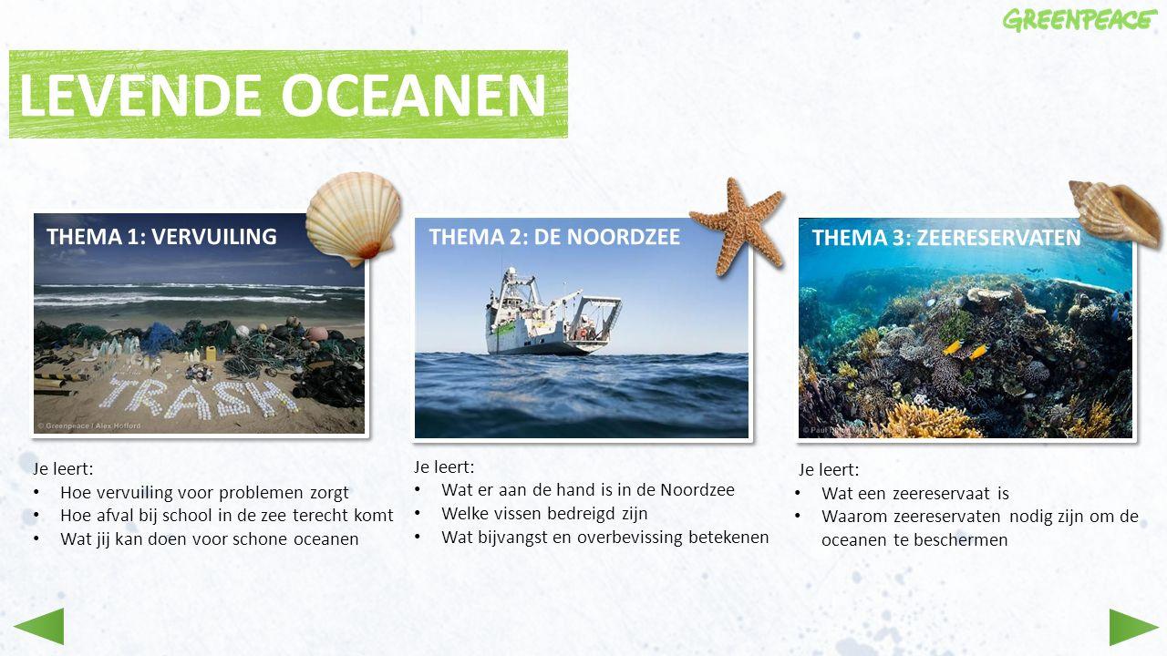 LEVENDE OCEANEN THEMA 1: VERVUILING THEMA 2: DE NOORDZEE