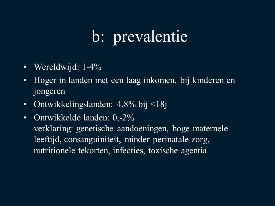 b: prevalentie Wereldwijd: 1-4%