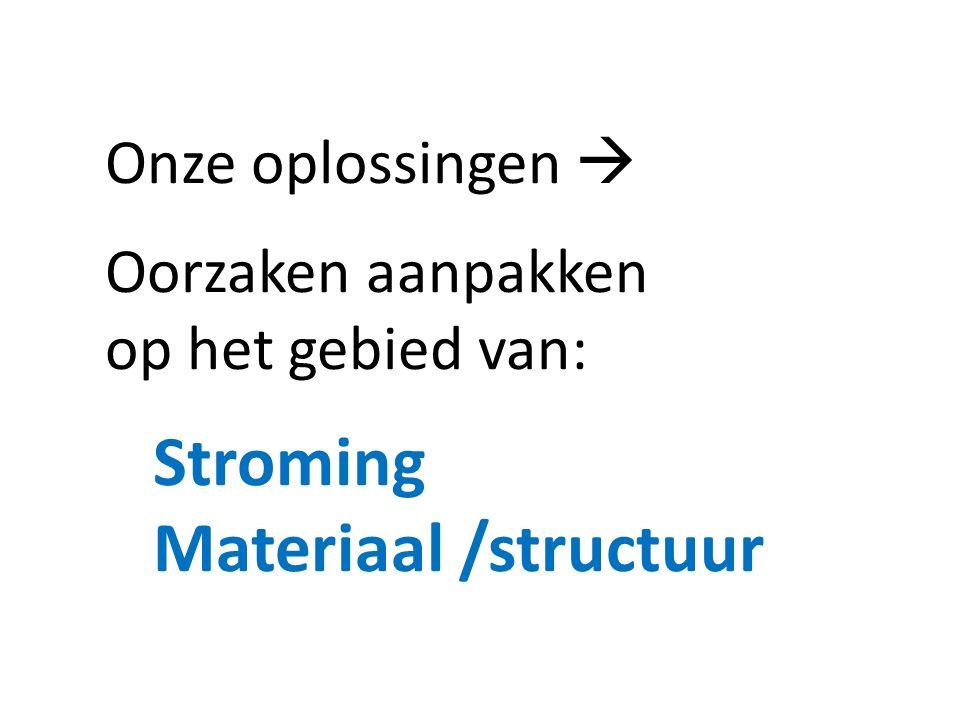 Stroming Materiaal /structuur Onze oplossingen  Oorzaken aanpakken