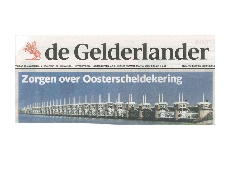 tot 30 augustus, de dag dat we echt zouden beginnen er een heel toepasselijk hoofdartikel in de Gelderlander stond: Zorgen over Oosterscheldekering.