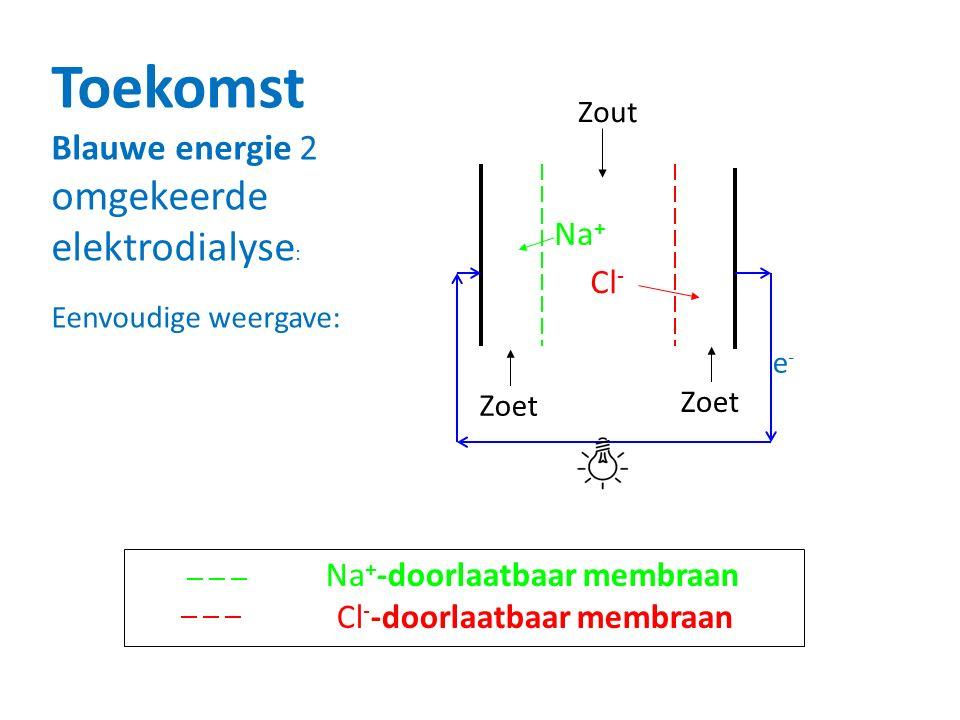 Toekomst omgekeerde elektrodialyse: Blauwe energie 2 Na+ Cl- Zout