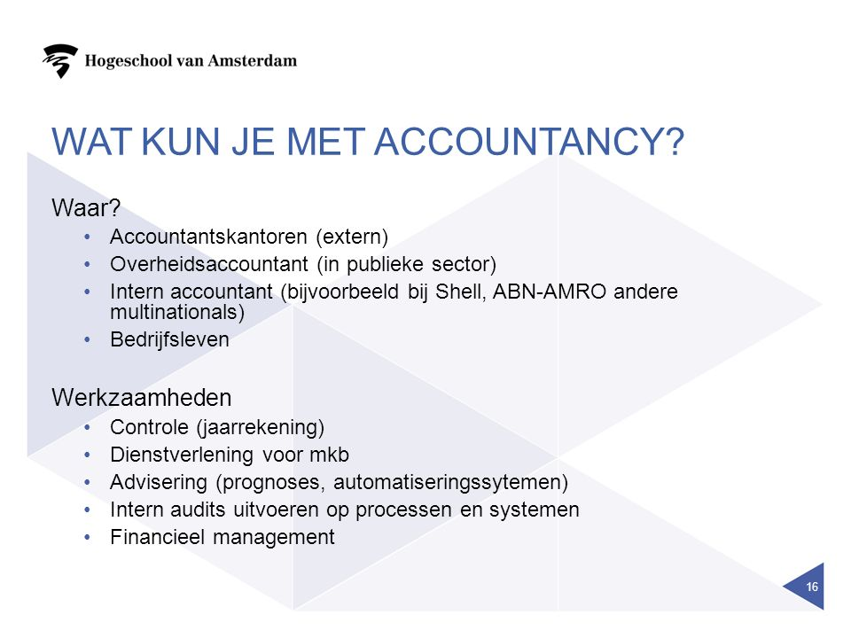 wat kun je met accountancy