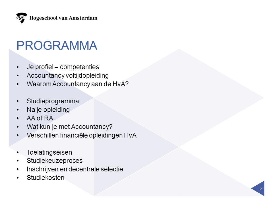 Programma Je profiel – competenties Accountancy voltijdopleiding