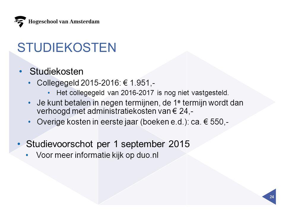 STUDIEKOSTEN Studiekosten Studievoorschot per 1 september 2015
