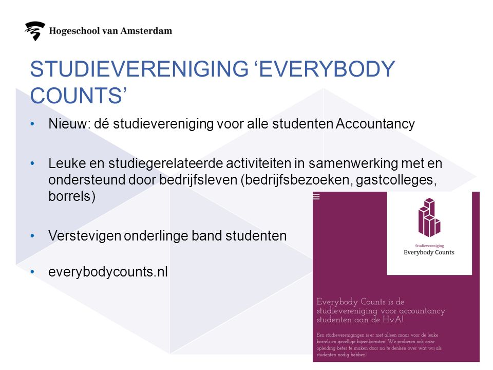 Studievereniging 'everybody counts'