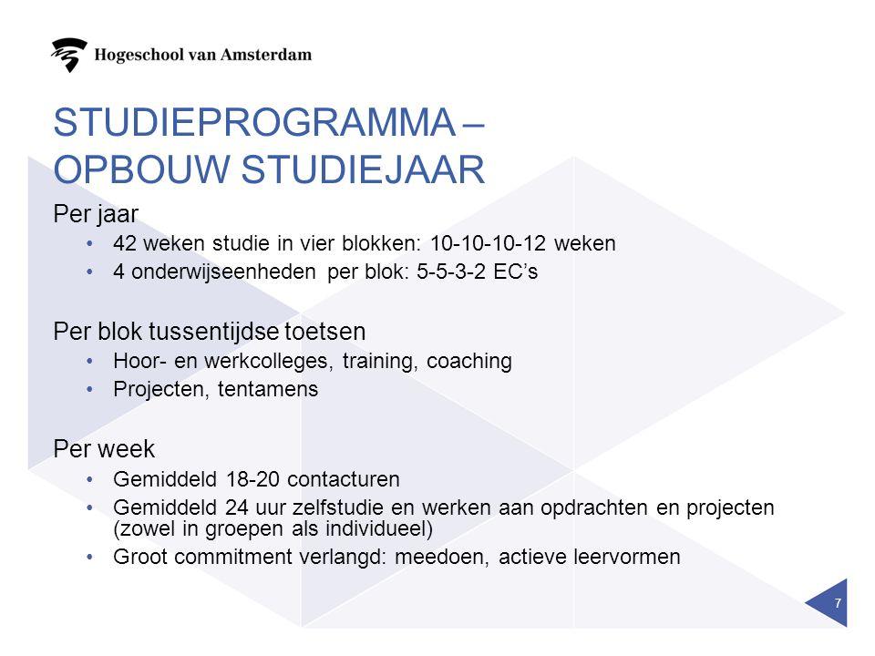 studieprogramma – opbouw studiejaar
