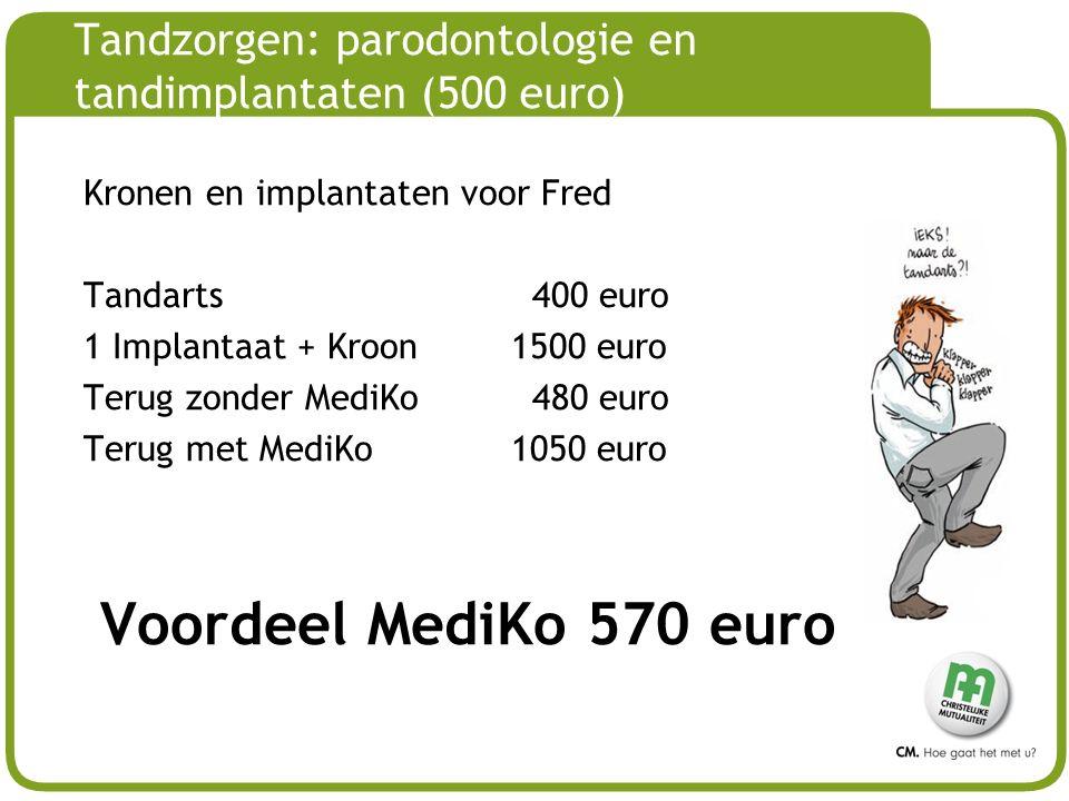 Tandzorgen: parodontologie en tandimplantaten (500 euro)