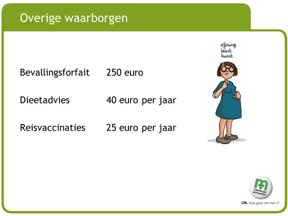 Overige waarborgen Bevallingsforfait 250 euro Dieetadvies 40 euro per jaar Reisvaccinaties 25 euro per jaar
