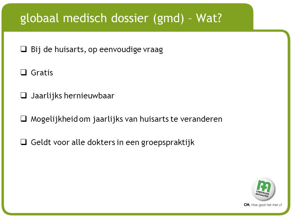 globaal medisch dossier (gmd) – Wat