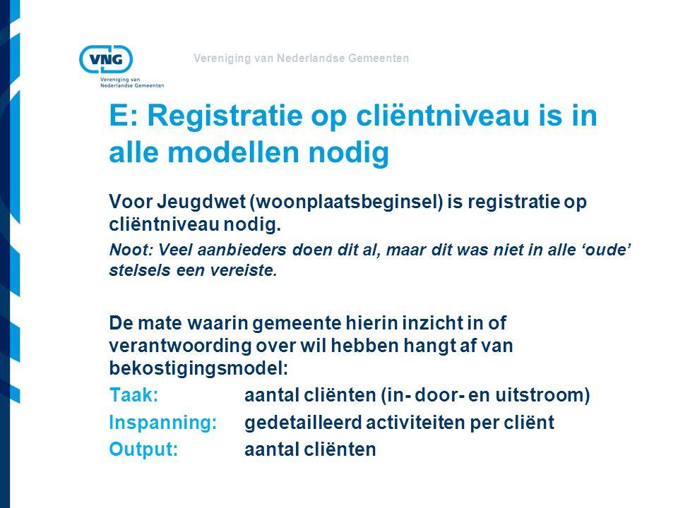 E: Registratie op cliëntniveau is in alle modellen nodig