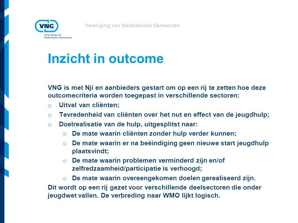 Inzicht in outcome VNG is met Nji en aanbieders gestart om op een rij te zetten hoe deze outcomecriteria worden toegepast in verschillende sectoren: