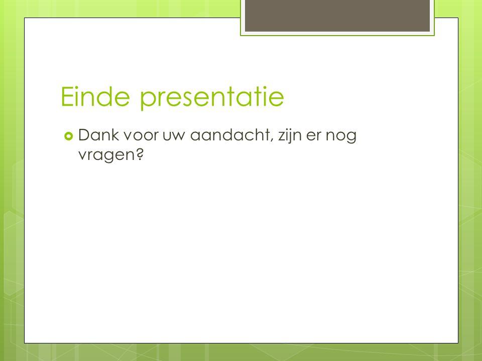 Einde presentatie Dank voor uw aandacht, zijn er nog vragen