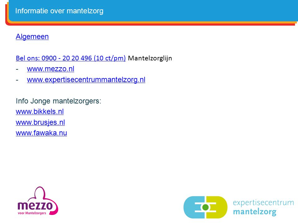 Informatie over mantelzorg