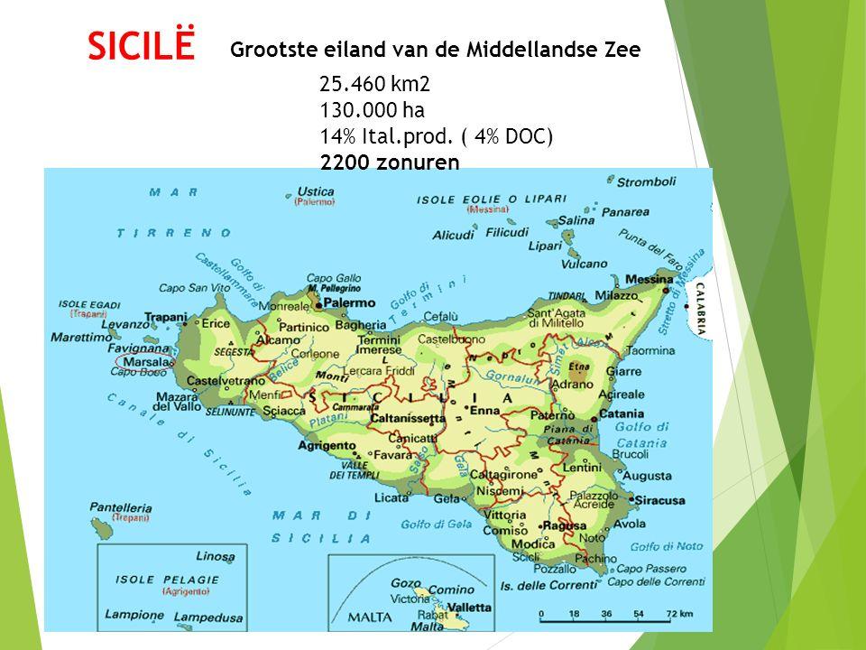 SICILË Grootste eiland van de Middellandse Zee 25.460 km2 130.000 ha