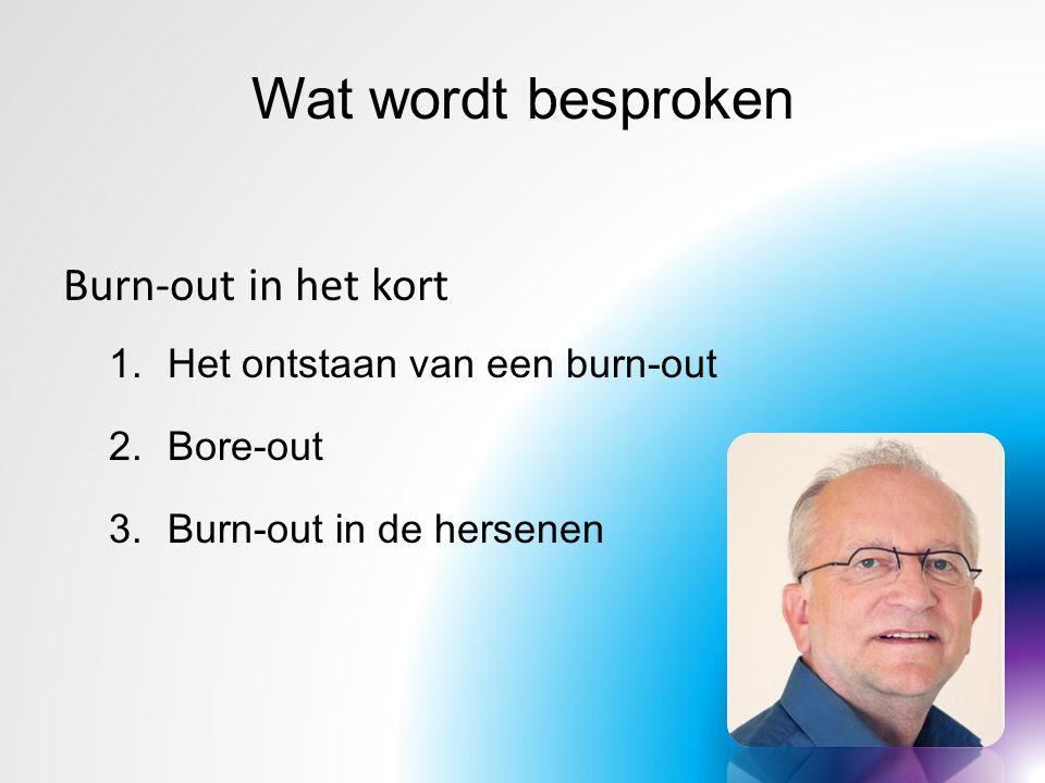 Wat wordt besproken Burn-out in het kort Het ontstaan van een burn-out