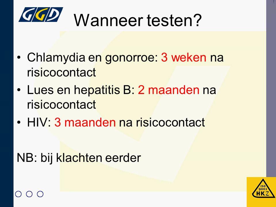 Wanneer testen Chlamydia en gonorroe: 3 weken na risicocontact