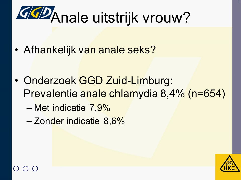 Anale uitstrijk vrouw Afhankelijk van anale seks