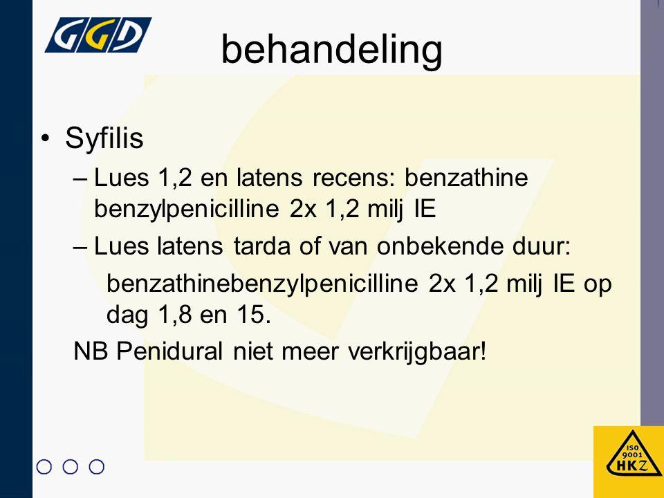 behandeling Syfilis. Lues 1,2 en latens recens: benzathine benzylpenicilline 2x 1,2 milj IE. Lues latens tarda of van onbekende duur: