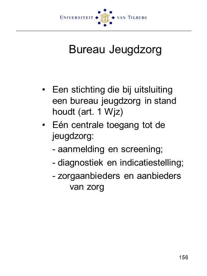 Bureau Jeugdzorg Een stichting die bij uitsluiting een bureau jeugdzorg in stand houdt (art. 1 Wjz)
