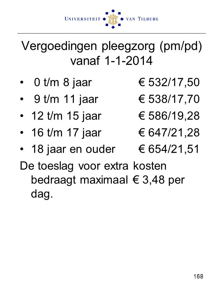Vergoedingen pleegzorg (pm/pd) vanaf 1-1-2014