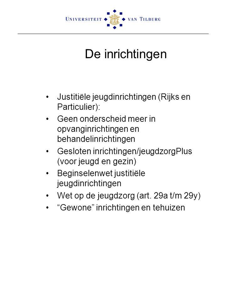 De inrichtingen Justitiële jeugdinrichtingen (Rijks en Particulier):